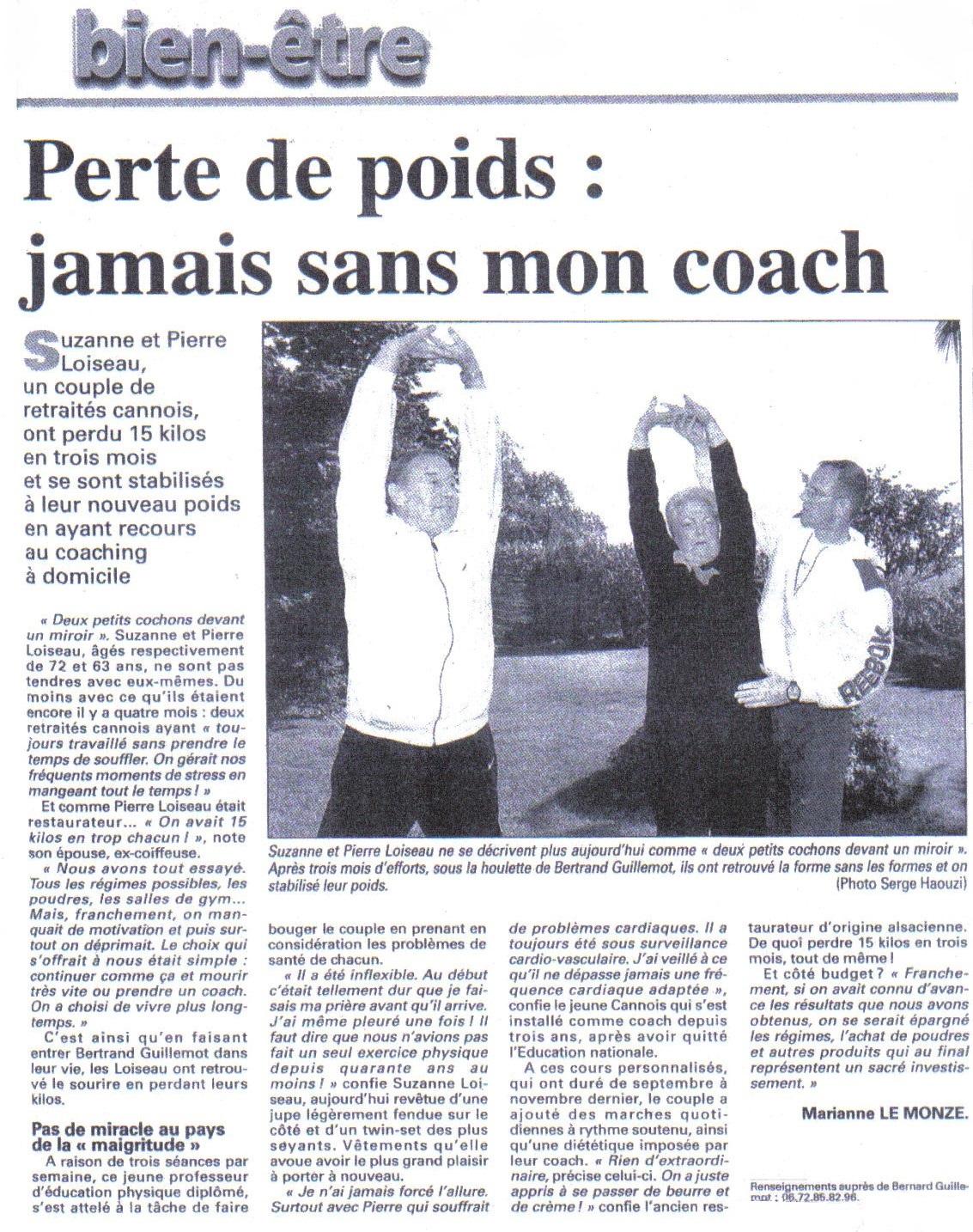 Article de Nice Matin : perdre du poids avec coach Bertrand Guillemot
